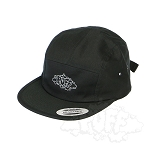 Puff 5 Panel Camper Cap With Medium Logo.  PUFF-80-BLK