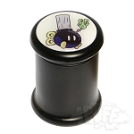 Black Glass Pop Top Jar.  DJAR-B7