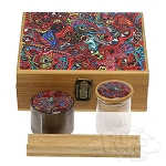 Large Bamboo Box With Grinder & Jar.  DJAR-BOX-L5