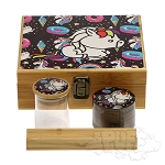 Large Bamboo Box With Grinder & Jar.  DJAR-BOX-L8