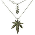Koko & Kai Sterling Silver Large Leaf Necklace.  KOKO-2L-SIL