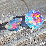 Faceted Round Rainbow 4mm. O-FR-R4