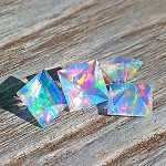 Faceted Square Rainbow 4mm. O-FS-R4