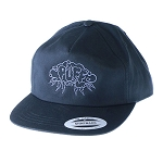 Puff 5 Panel Unstructured Snapback W/ Storm Cloud.  PUFF-40-BLK