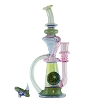 Stebbe Glass Recycler Agua & CFL Purple W/ Matching Carb Cap 14mm STEBBE-250
