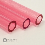 Trautman Art Glass Pink Lollypop Tube (Per Pound). TAG-PINKLOLLYTUBE