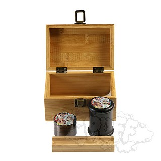 Bamboo Medium Size Box With Grinder & Jar