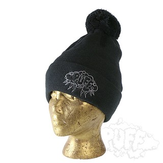 Puff Storm Cloud Pom-Pom Toque Black.  PUFF-100-BLK