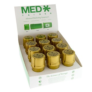 Case Of 12 Gold Med-Tainer W/ Puff Logo. MED-T4