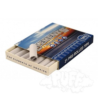 Elements Pre-Rolled Unbleached Tips Single Pack.  S-ELEMENTS-TIPS-PR